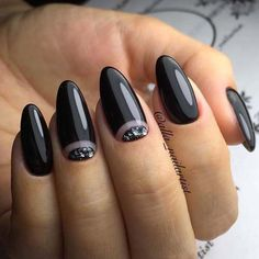 Black manicure always looks stylish and actual. It emphasizes fine your individuality. The long oval nails add your hands some . Pink Nail Designs, Best Nail Art Designs, Nail Designs Spring, Almond Nail Art, Almond Nails, Trendy Nail Art, Cool Nail Art, Black Nails, Pink Nails