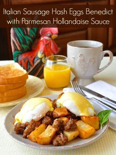 Italian Sausage Hash Eggs Benedict with Parmesan Hollandaise Sauce - garlic, onions and crispy fried potatoes together with Italian sausage, poached eggs and topped with a cheesy Hollandaise sauce.