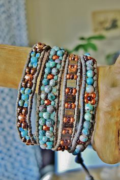 Ye OL' COPPER BLUES 4 Wrap Leather by BraceletsofBlueRidge on Etsy, $88.00
