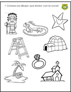 Vocal i Tracing Worksheets, Preschool Worksheets, Preschool Activities, Spanish Lessons For Kids, Montessori Education, First Grade, Speech Therapy, Classroom Management, Coloring Pages