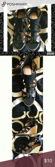Attention Black Strap Wedge Sandals Black wedge sandals. Size 8 in good condition. sandals zip up in the back. Wedge is 3 inches from the tallest part to bottom. Minor visible wear. Some black on buttons from walking on them. Attention  Shoes Wedges