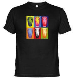 "Camiseta ""Congas pop art"". Compra online en www.latostadora.com/mundopercusion"
