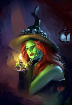 Fantasy Witch, Witch Art, Fantasy Art, Photo Halloween, Theme Halloween, Spooky Halloween, Vintage Halloween, Halloween Artwork, Happy Halloween
