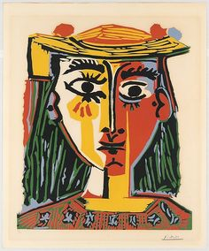 Pablo Picasso. Woman in a Hat with Pompoms and a Printed Blouse, 1962. Linoleum cut, 24-3/4 x 20-7/8 in.