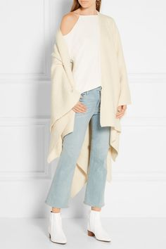 Heel measures approximately inches White glossed-alligator Zip fastening along side Alligator: USA Made in Italy White Ankle Boots, Jennifer Fisher, Smooth Leather, The Row, Duster Coat, Kimono Top, Denim, My Style, Heel