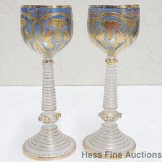 Antique Moser Bohemian Austrian Gilt Art Nouveau Wine Glasses Goblets
