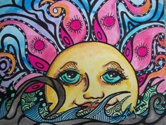 Psychedelic Sun and Sea, Singleton Hippie Art , Oceanscape, tangle style… Hippie Love, Hippie Art, Bohemian Art, Hippie Style, Sun Moon, Stars And Moon, Love Drawings, Art Drawings, Pablo Vitar