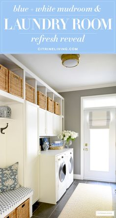 Mudroom + laundry room with a coastal look - woven baskets and builtin cupboards for much needed storage, blue and white decor accents and fabric prints are fresh and crisp! #laundryroom #mudroom #laundryinspiration #organization