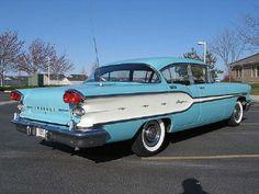 1958 Pontiac Chieftain Four Door Sedan, Blue & White.
