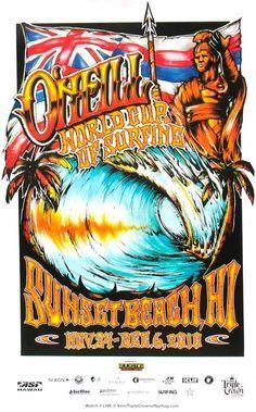 2010 O'Neill World Cup of Surfing Contest Poster Hawaiian Art, Hawaiian Tattoo, Aloha Surf, Surf Logo, Vintage Surfboards, Surf Design, Logo Design, Sunset Surf, Posca Art