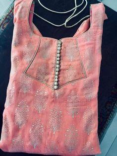 30 Stylish Potli button neck designs for kurtis and salwar suits Chudithar Neck Designs, Chudidhar Designs, Neck Designs For Suits, Neckline Designs, Blouse Neck Designs, Sleeve Designs, Kurti Back Neck Designs, Salwar Suit Neck Designs, Kurta Neck Design