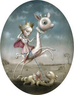 nicoletta ceccoli - warrior princess defeats dragon fantasy art childrens book illustration surrealist painting