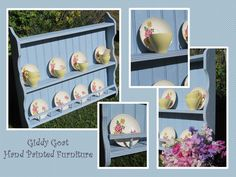 This beautiful vintage blue plate rack is available on Ebay!