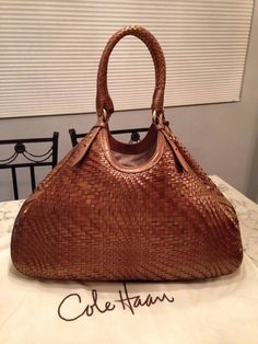 "Cole Haan 19"" Genevieve Woven Leather Hobo Tote Shoulder Bag Handbag Purse EUC! #ColeHaan #TotesShoppers GORGEOUS!!! EXCELLENT CONDITION!!! BEAUTIFUL BRONZE BROWN WOVEN LEATHER BAG!!! RARE IN THIS EXCELLENT CONDITION!!!  SALE!!! WOW!!!"