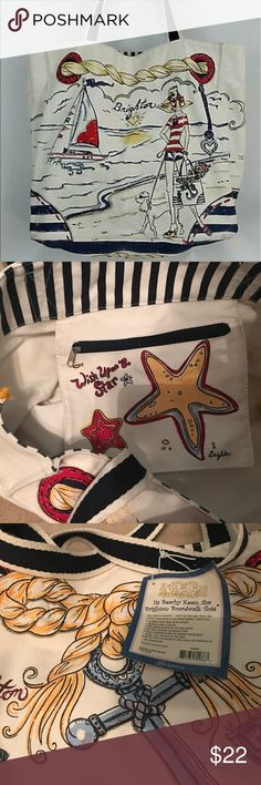 """Brighton """"Beachy Keen"""" never-used Boardwalk Tote Great nautical beach bag! Canvas slightly discolored at bottom on one side (last picture). Great for the beach-- I have one I often use & people ask where I got it!! Brighton Bags Totes"""