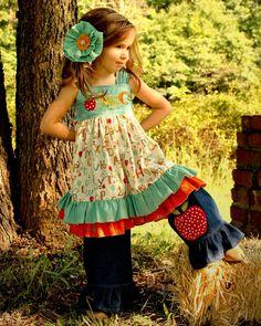 Girls ABC Apple Applique Ruffle Dress Sizes 612 by rosieposiegifts, $66.00