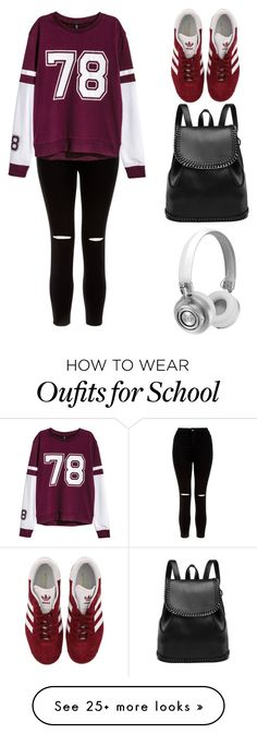 """""""school"""" by claireberenai on Polyvore featuring New Look, H&M, adidas and Master & Dynamic"""