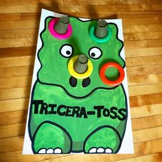 Tricera-toss dinosaur ring toss party game, You can find Dinosaur party and more on our website. Dinosaur Party Games, Dinosaur Activities, Birthday Party Games, 4th Birthday Parties, Game Party, Third Birthday, Dinosaur Party Invitations, Birthday Ideas, Dinosaur Dinosaur