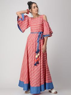 Buy VRITI Coral Hand-embroidered Handwoven Ikat Cotton Dress online in India at best price. Cotton Dress Indian, Cotton Long Dress, Indian Dresses, Dress Long, Cotton Dresses Online, Cotton Gowns, Cotton Maxi Dresses, Dress Online, Long Kurti Patterns