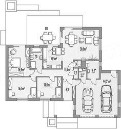 Rzut parteru projektu Evita Optima wersja A Small House Plans, House Floor Plans, House Design, Flooring, How To Plan, Bags, Plants, Homes, Projects