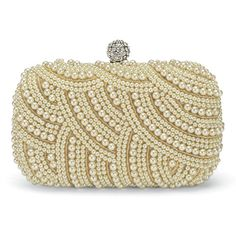 Pearl Beaded Clutch Handbag (£76) ❤ liked on Polyvore featuring bags, handbags, clutches, beige purse, pearl handbag, beaded clutches, beaded handbags and pearl purse
