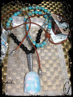 Custom ordered Opalite Buddha Leather Lariat Necklace with Onyx & Lacey Blue Agate Gemstones.  www.eyegotchacovered.info  #EGCdesign #BohoChic #DesignYourOwnLife #Buddha #Namasté #Love #Peace #MyNewestFav