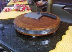 End Grain Mesquite Wood Round Cutting Board