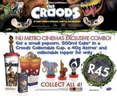 Get a small popcorn, 500 ml Coke in a Croods collectable cup, a 40 g Astros, and collectable topper for only R45. Collect all four! $45 Coke, Dreamworks, Popcorn, Coca Cola, Goodies, Comic Books, Sweet Like Candy, Good Stocking Stuffers, Comic Strips