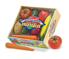 Play-Time Produce Vegetables - Play Food : Tempting your children to try some delicious vegetables will be much easier once they have played with these realistically sized fresh from the farm veggies! There are 7 pieces packed in this crate of harvested seasonal favorites. This durable, molded-plastic food is ideal for kitchen and grocery play.