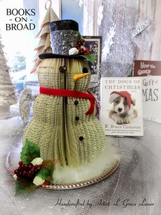 Uniquely Grace: Unique Book page Snowman and Winter window display at the bookstore, Books on Broad