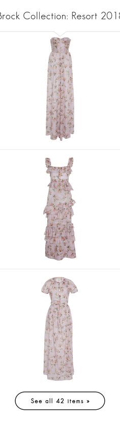 """""""Brock Collection: Resort 2018"""" by livnd ❤ liked on Polyvore featuring brockcollection, livndfashion, livndbrockcollection, resort2018, dresses, floral, strapless floral print dress, floor length dress, floral print dress and floral day dress"""