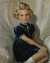 Diana with a blue ribbon by Frederic John LLoyd Strevens