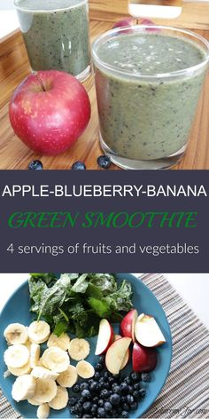 Apple-Blueberry-Banana Green Smoothie recipe with 4 servings of fruit and vegetables. Healthy green smoothie