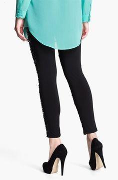 $68 Nordstrom 'Shimmy' Sliver Black Sequins Leggings SZ M#leggings # tights www.loveitsomuch.com