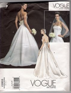 Vogue Bridal Original Gown Pattern Sizes 10 : Vintage Sewing Patterns, Heavens To Betsy Bride Gowns, Bridal Dresses, Wedding Gowns, Pageant Dresses, Wedding Dress Sewing Patterns, Gown Pattern, Bridal And Formal, Vintage Bridal, Strapless Dress Formal