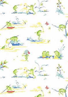 RESORT FROGS, White, T16062, Collection Resort from Thibaut wallpaper ** kids bathroom wallpaper **