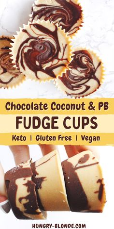 """These amazingly soft and fudgy keto chocolate peanut butter fudge cups, AKA copycat Reese's peanut butter cups AKA """"fat bombs,"""" are delicious and easy to make with a few ingredients and no baking needed! This easy dessert is vegan, gluten free, and keto friendly and has no added sugar, a healthy snack swap for Reese's candy! #vegandessert #glutenfreedessert #ketosnacks Keto Chocolate Recipe, Chocolate Peanut Butter Fudge, Coconut Peanut Butter, Low Carb Chocolate, Vegan Dessert Recipes, Low Carb Desserts, Gluten Free Desserts, Healthy Desserts, Easy Snacks"""