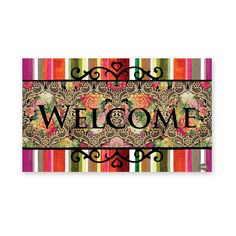 Brighten your day with this charming Victor Eco mat from Melli Mello. This stunning doormat features a brightly coloured striped pattern and is finished with contrasting black text spelling 'welcom...