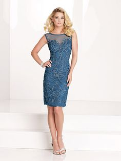 """This short dress puts the """"Chic"""" in Shabby Chic! Beautiful vintage style beading! This would be so beautiful as a dress for Mother of the Bride or as a dress for Mother of the Groom. Social Occasions by Mon Cheri - 115875 #dressformotherofthebride #dressformotherofthegrroom #motherofthebridedress #motherofthegroomdress #tcarolyn"""