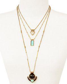 Rue La La — Sparkling Sage 14K Plated Crystal & Resin 3 Layer Necklace