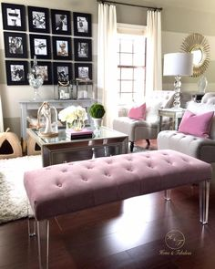 This pink tufted bench from HomeGoods really makes my living room stand out. Don't be afraid to use color! #makehomeyours HomeGoods