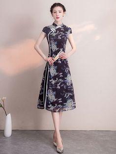 Purple Floral A-Line Midi Qipao / Cheongsam Dress