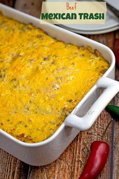 Beef Mexican Trash   bakeatmidnite.com   #casseroles #mexican #tacos