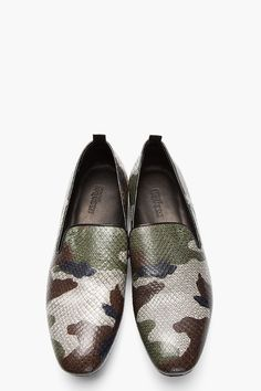 ALEXANDER MCQUEEN Grey camo print python leather loafers, Men's Spring Summer Fashion.