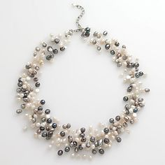 Sterling Silver Dyed Freshwater Cultured Pearl Illusion Necklace $90.00