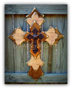 Large Wall CROSS Stain Religious wording iron cross, by happygoose