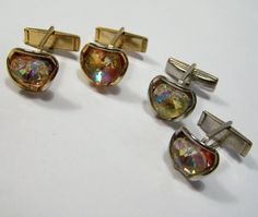 2 Pair Vintage Men's Glass Heart Cufflinks by GretelsTreasures