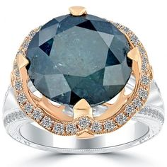12.24 Carat Fancy Blue Diamond Engagement Ring 14k White Gold Pave Halo Vintage