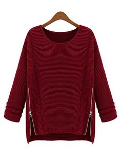 Pullover Long Sleeve Round Neck Burgundy Sweater : KissChic.com