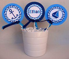 Nautical Centerpiece Sticks - Baby Shower Decorations. $9.00, via Etsy.